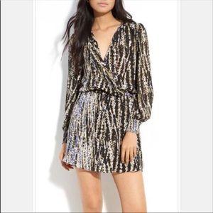 Parker Silk Long Sleeve Faux Wrap  Dress